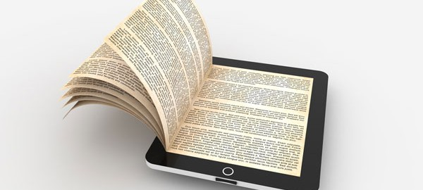 an electronic book open on a tablet