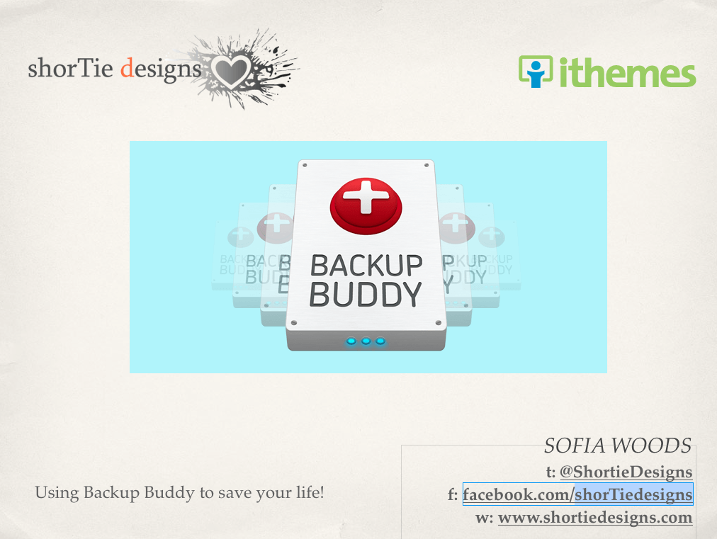 Using backup buddy slide screenshot