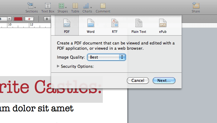 save as pdf pages