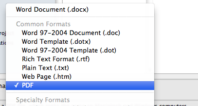save as pdf in word