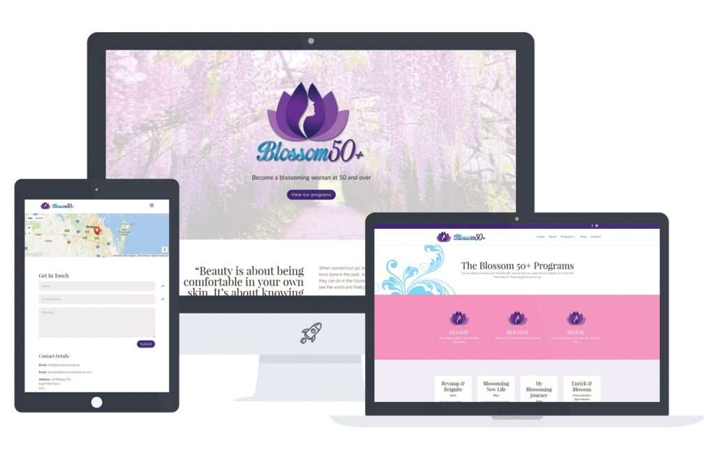 web design brisbane Blossoms homepage screenshots on desktop and mobile devices
